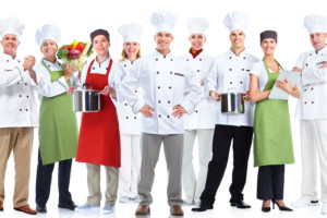47330550 – group of professional chefs isolated on white background.
